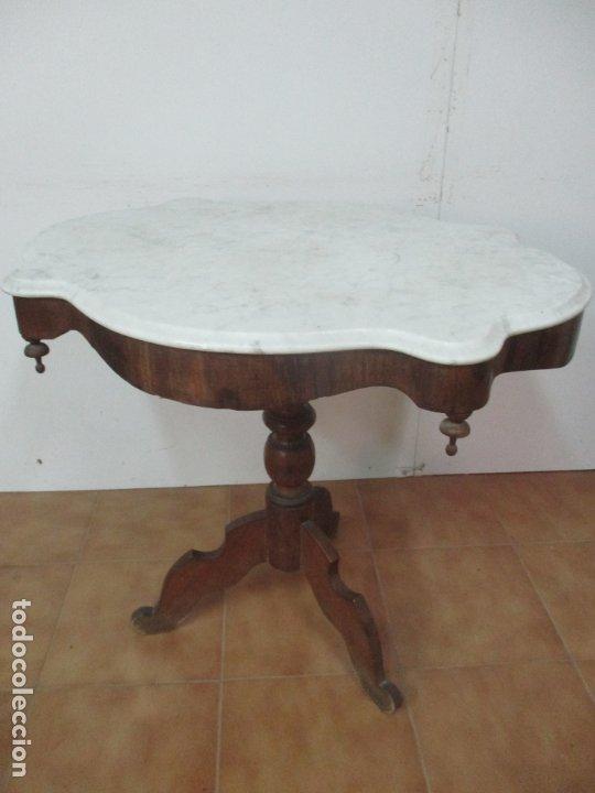Antigüedades: Mesa de Centro Isabelina - Madera Caoba - sobre en Mármol de Carrara - S. XIX - Foto 10 - 175562650
