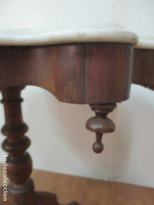 Antigüedades: Mesa de Centro Isabelina - Madera Caoba - sobre en Mármol de Carrara - S. XIX - Foto 11 - 175562650