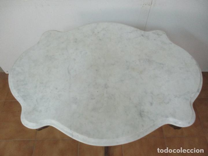 Antigüedades: Mesa de Centro Isabelina - Madera Caoba - sobre en Mármol de Carrara - S. XIX - Foto 13 - 175562650