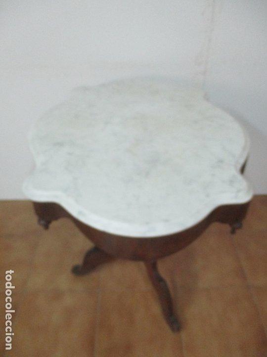 Antigüedades: Mesa de Centro Isabelina - Madera Caoba - sobre en Mármol de Carrara - S. XIX - Foto 14 - 175562650
