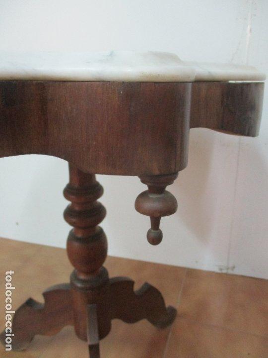 Antigüedades: Mesa de Centro Isabelina - Madera Caoba - sobre en Mármol de Carrara - S. XIX - Foto 16 - 175562650