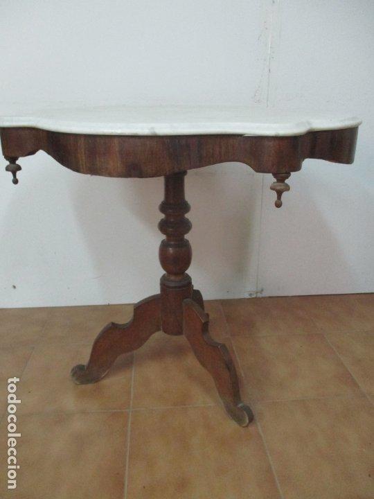 Antigüedades: Mesa de Centro Isabelina - Madera Caoba - sobre en Mármol de Carrara - S. XIX - Foto 18 - 175562650