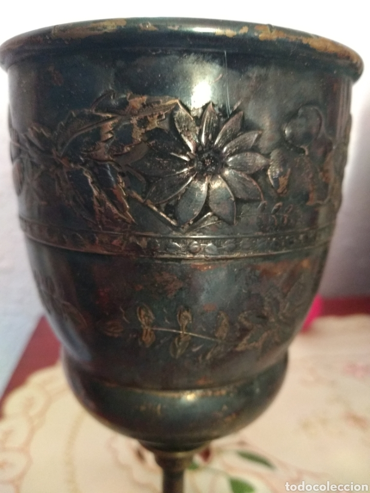 Antigüedades: MUY DIFÍCIL ( CÁLIZ PLATA S. XIX PUNZONADO EN LA BASE ).VER FOTOS. MÁS ARTÍCULOS PLATA EN MÍ PERFIL. - Foto 2 - 166643829