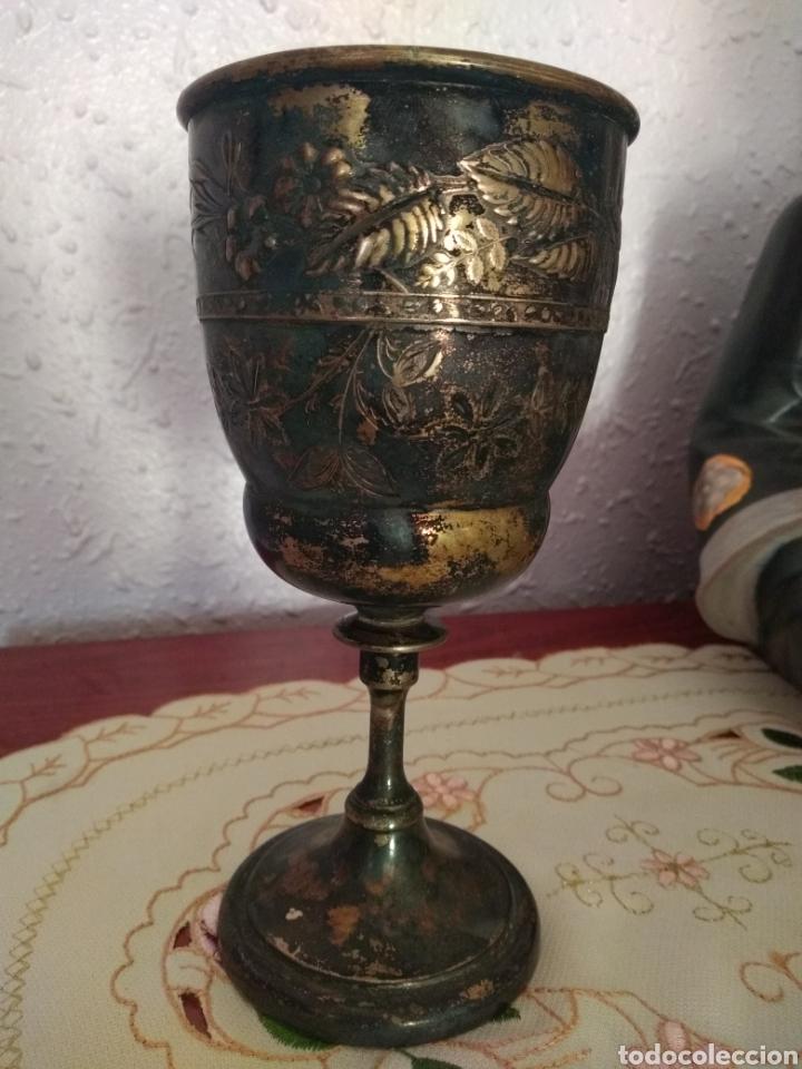 MUY DIFÍCIL ( CÁLIZ PLATA S. XIX PUNZONADO EN LA BASE ).VER FOTOS. MÁS ARTÍCULOS PLATA EN MÍ PERFIL. (Antigüedades - Platería - Plata de Ley Antigua)
