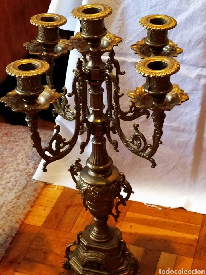 Antigüedades: PAREJA DE CANDELABROS DE BRONCE DE CINCO VELAS, ÚNICOS, VER - Foto 8 - 175585909