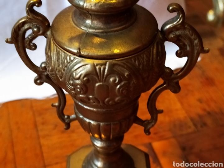 Antigüedades: PAREJA DE CANDELABROS DE BRONCE DE CINCO VELAS, ÚNICOS, VER - Foto 12 - 175585909