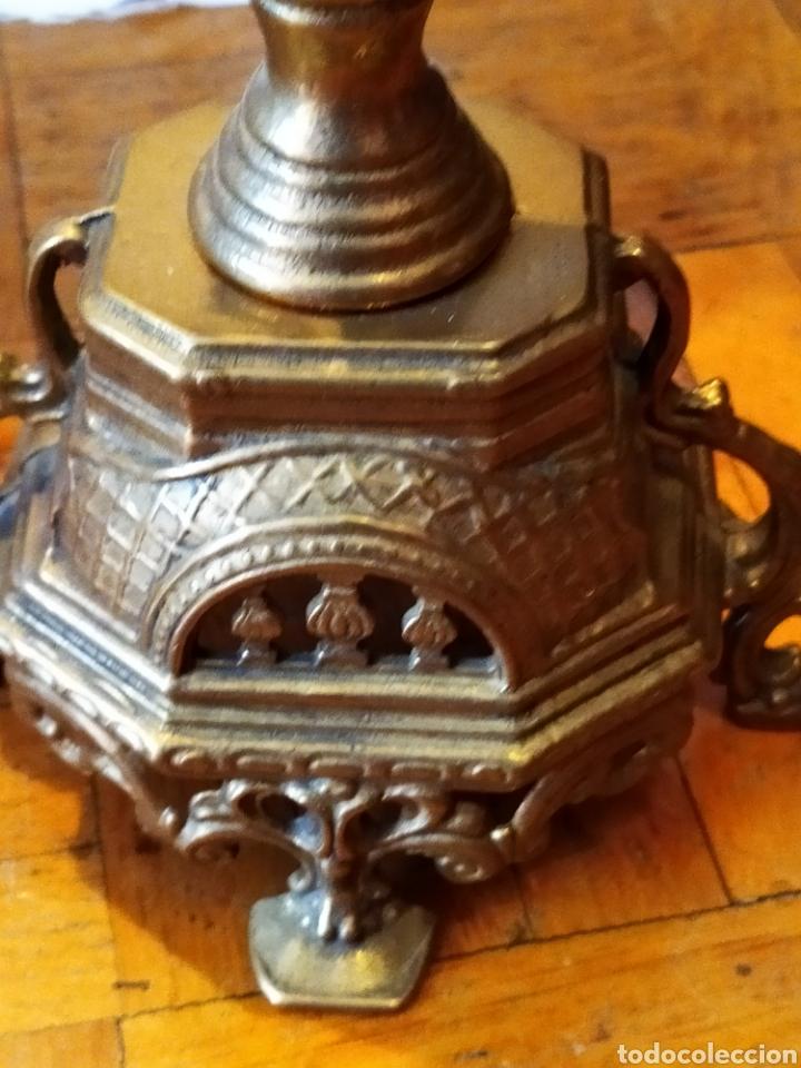 Antigüedades: PAREJA DE CANDELABROS DE BRONCE DE CINCO VELAS, ÚNICOS, VER - Foto 19 - 175585909