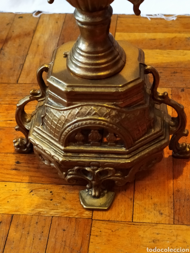 Antigüedades: PAREJA DE CANDELABROS DE BRONCE DE CINCO VELAS, ÚNICOS, VER - Foto 20 - 175585909