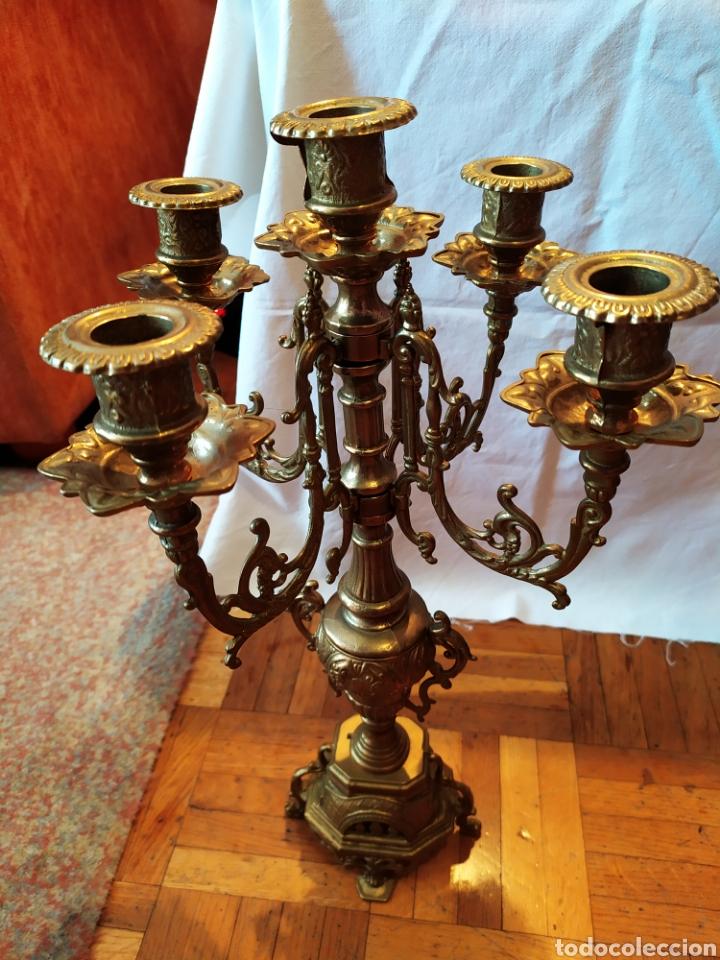 Antigüedades: PAREJA DE CANDELABROS DE BRONCE DE CINCO VELAS, ÚNICOS, VER - Foto 22 - 175585909