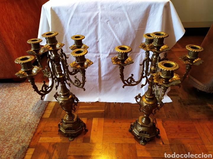 Antigüedades: PAREJA DE CANDELABROS DE BRONCE DE CINCO VELAS, ÚNICOS, VER - Foto 23 - 175585909