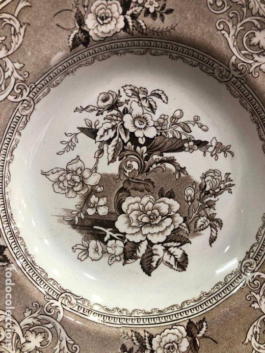 Antigüedades: ANTIGUO PLATO HONDO CERAMICA IRONSTONE ANTHOS E. CHALLINOR & CO. - MEDIDA 25 CM - Foto 2 - 175605324