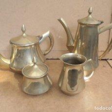 Antigüedades: JUEGO DE TE O CAFÉ EN LATÓN 4 PIEZAS. Lote 175627797