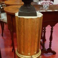 Antigüedades: PAREJA DE COLUMNAS MADERA CON PAN DE ORO. Lote 175654794