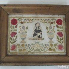 Antigüedades: CUADRO BORDADO - VIRGEN DE LOS DOLORES - BONITOS COLORES - FINALES S. XVIII. Lote 175666168