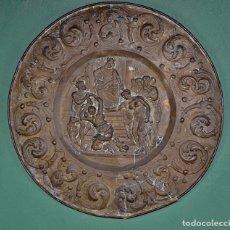 Antigüedades: GRAN PLATO FRANCÉS EN LATÓN REPUJADO FINALES DEL XIX. Lote 175674134