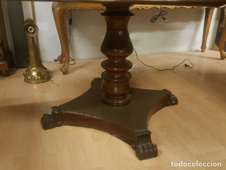 Antigüedades: Mesa de comedor colonial inglesa con tablero redondo. - Foto 2 - 175678077