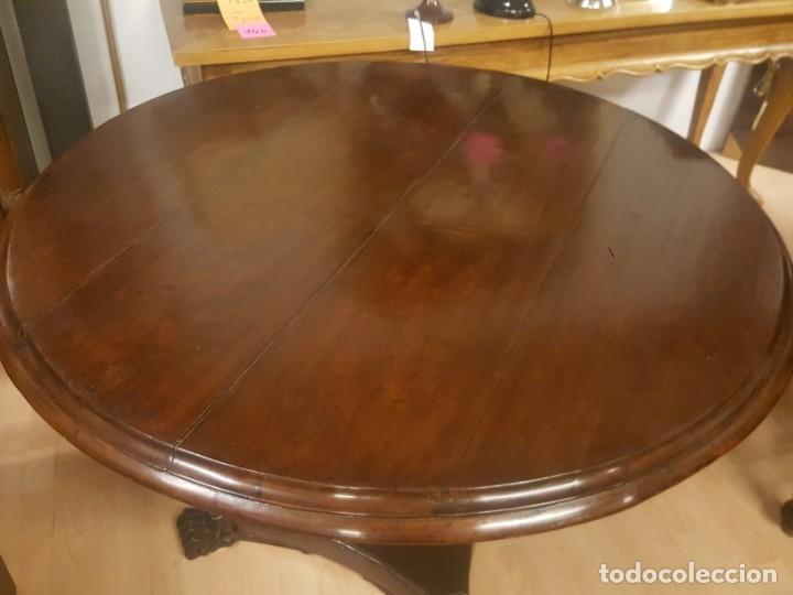 Antigüedades: Mesa de comedor colonial inglesa con tablero redondo. - Foto 3 - 175678077