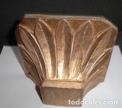 MÉNSULA O PEANA ANTIGUA DE MADERA NOBLE AL ORO FINO (Antigüedades - Muebles Antiguos - Ménsulas Antiguas)
