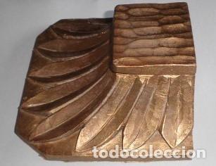 Antigüedades: MÉNSULA O PEANA ANTIGUA DE MADERA NOBLE AL ORO FINO - Foto 3 - 175678653