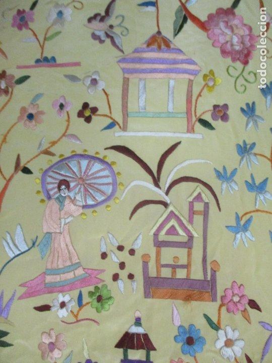 Antigüedades: Bonito Mantón de Manila - Motivos Orientales - Foto 9 - 175680033