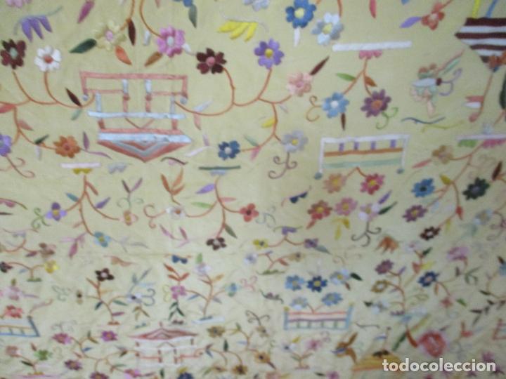 Antigüedades: Bonito Mantón de Manila - Motivos Orientales - Foto 10 - 175680033