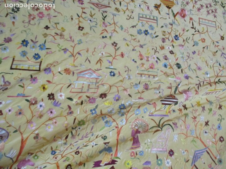 Antigüedades: Bonito Mantón de Manila - Motivos Orientales - Foto 18 - 175680033