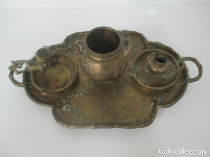 Antigüedades: Bandeja, Quemador. Incensario - Candelabro - Bronce Cincelado - Motivos Orientales - Foto 2 - 175683993