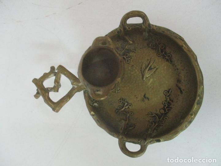 Antigüedades: Bandeja, Quemador. Incensario - Candelabro - Bronce Cincelado - Motivos Orientales - Foto 6 - 175683993