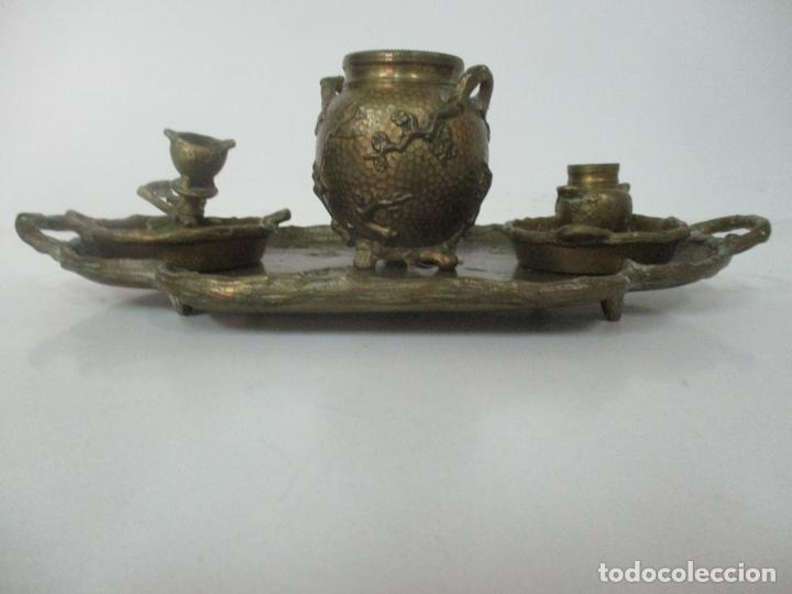 Antigüedades: Bandeja, Quemador. Incensario - Candelabro - Bronce Cincelado - Motivos Orientales - Foto 18 - 175683993