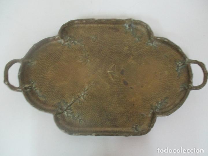 Antigüedades: Bandeja, Quemador. Incensario - Candelabro - Bronce Cincelado - Motivos Orientales - Foto 19 - 175683993