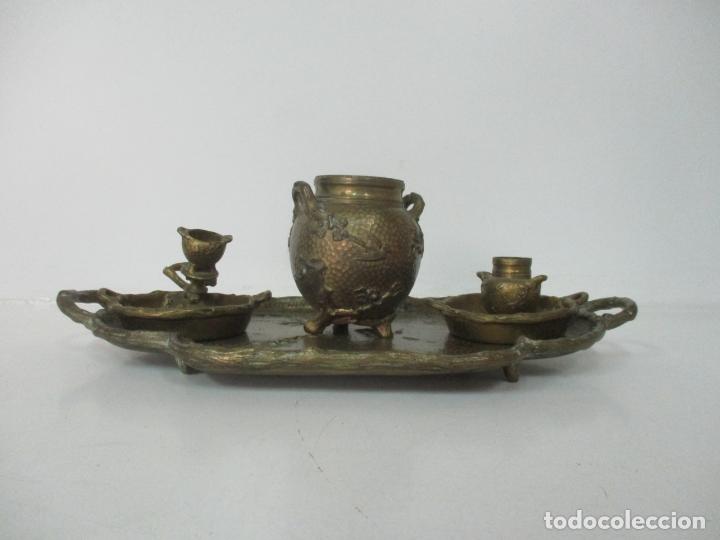 Antigüedades: Bandeja, Quemador. Incensario - Candelabro - Bronce Cincelado - Motivos Orientales - Foto 22 - 175683993