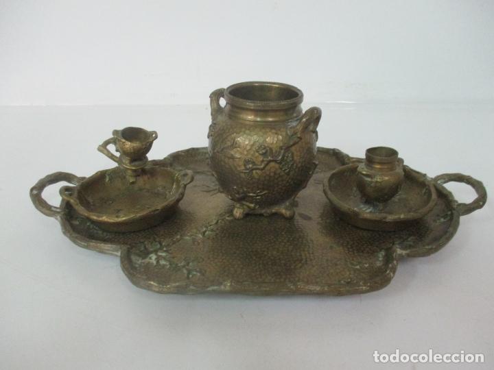Antigüedades: Bandeja, Quemador. Incensario - Candelabro - Bronce Cincelado - Motivos Orientales - Foto 23 - 175683993