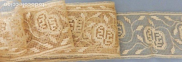 Antigüedades: ANTIGUO ENCAJE FINO BORDADO CON HILO DE SEDA PPIO. S.XX - Foto 3 - 175688644