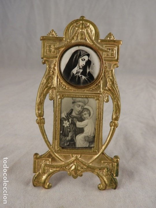 Antigüedades: IMAGEN DE SAN ANTONIO EN METAL DORADO ART NOUVEAU DE SOBREMESA - Foto 6 - 175709777
