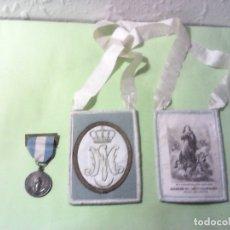 Antigüedades: ANTIGUO ESCAPULARIO DEL SANTO ESCAPULARIO AZUL CELESTE Y MEDALLA CONGRESO MARIANO NACIONAL. Lote 175726557
