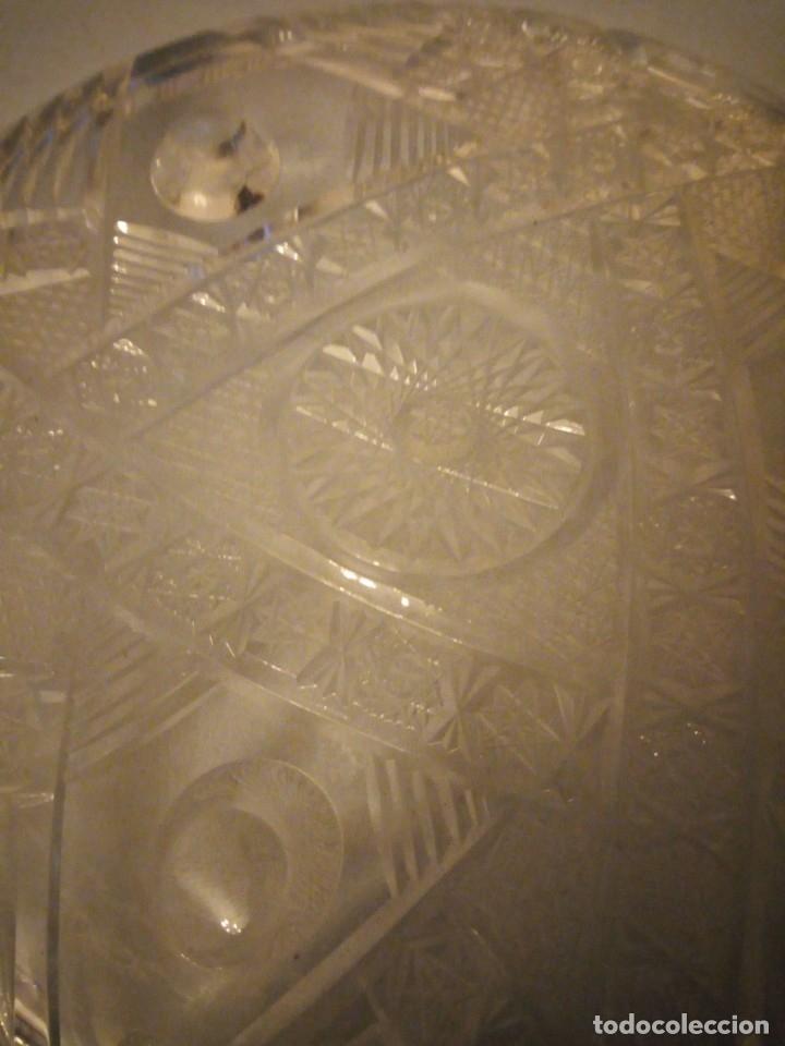 Antigüedades: Precioso plato centro de mesa de cristal de bohemia tallado. república checa - Foto 4 - 175737377