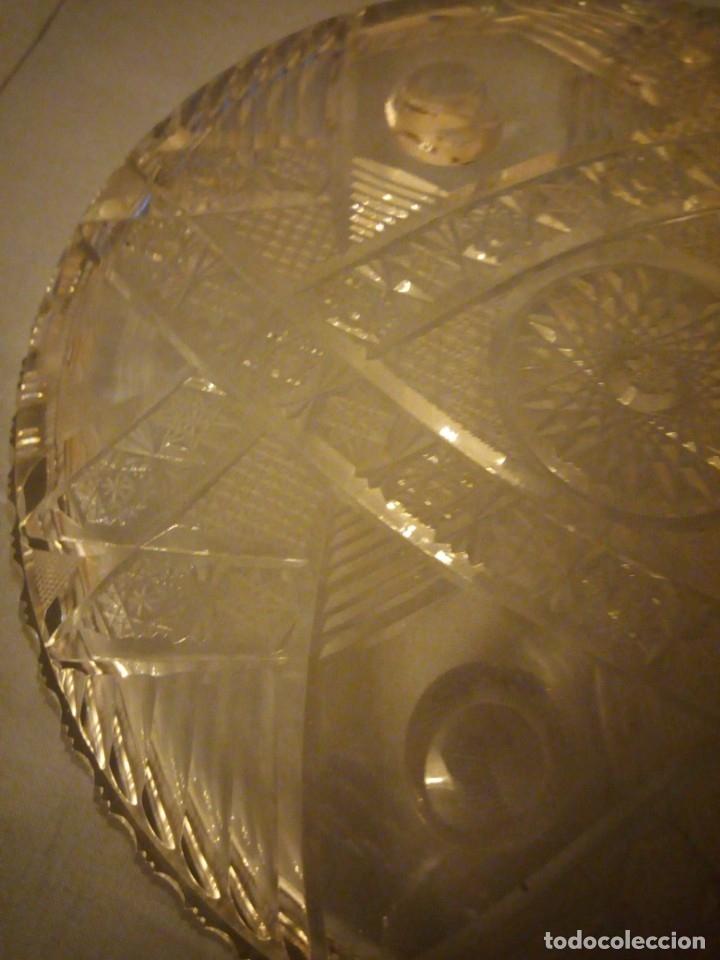 Antigüedades: Precioso plato centro de mesa de cristal de bohemia tallado. república checa - Foto 5 - 175737377