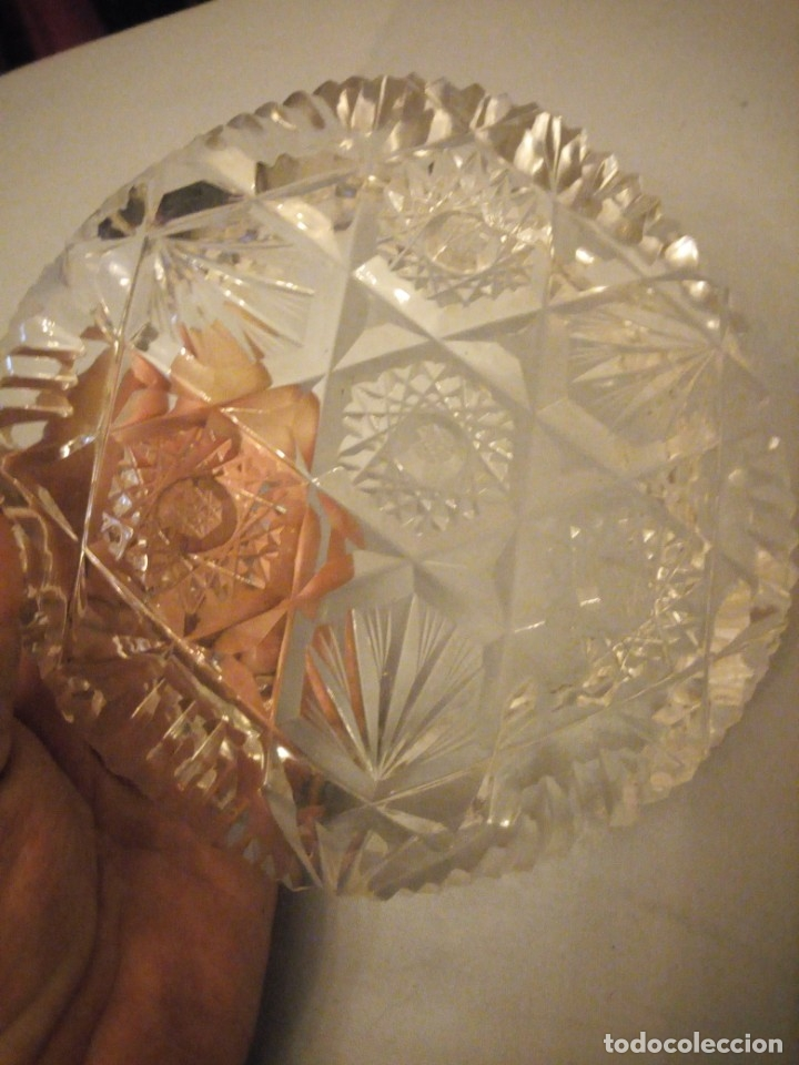 Antigüedades: Precioso cenicero de cristal de bohemia tallado. república checa - Foto 4 - 175737484