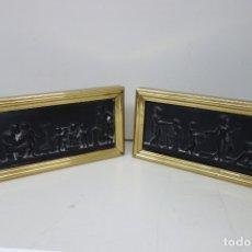 Antigüedades: PAREJA DE CUADROS DE MATERIAL DESCONOCIDO DE LOS AÑOS 60. Lote 175755850