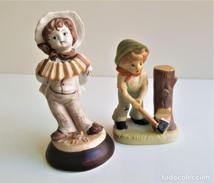 BONITAS FIGURAS CERAMICA MOTIVOS INFANTIL - 13 Y 16 CM ALTO APROX (Antigüedades - Hogar y Decoración - Figuras Antiguas)