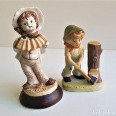 Antigüedades: BONITAS FIGURAS CERAMICA MOTIVOS INFANTIL - 13 Y 16 CM ALTO APROX. Lote 175771198