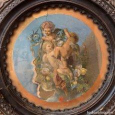 Antiquités: AÑO 1863 - EXTRAORDINARIO VELADOR - PINTURA DE GRAN CALIDAD ARTISTICA - OLEO. Lote 175781260