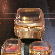 Antigüedades: LOTE CAJAS JOYERO CRISTAL. Lote 175790942