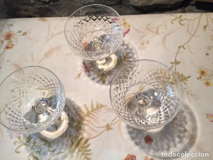 Antigüedades: Antiguas 3 copa / copas de coctel de cristal prensado años 60-70 - Foto 2 - 175791752
