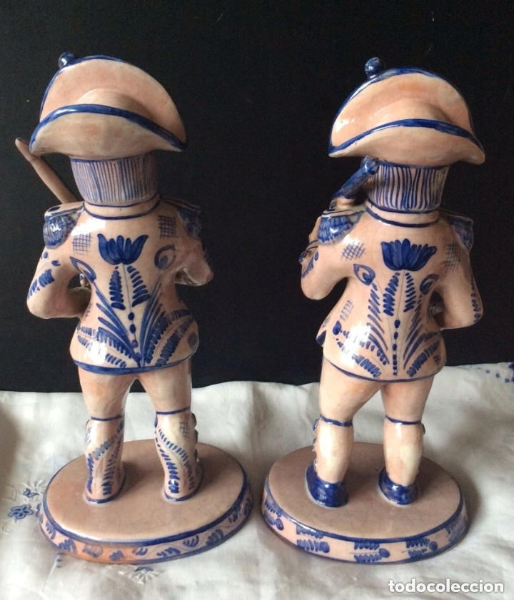 Antigüedades: Figuras de cerámica posiblemente DELF,representando Oficiales ,Militares, - Foto 3 - 175798708