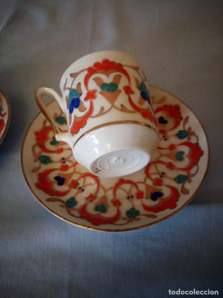 Antigüedades: Precioso tu y yo de porcelana kutahya gural porselen,turquia,pintado a mano - Foto 5 - 175803150