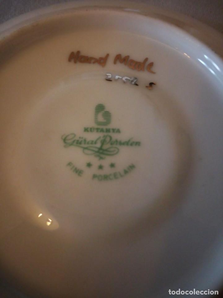 Antigüedades: Precioso tu y yo de porcelana kutahya gural porselen,turquia,pintado a mano - Foto 7 - 175803150