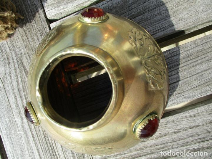 Antigüedades: ANTIGUA LAMPARA QUINQUE PARISIEN EN LATON MODERNISTA AÑO 1900 PERFECTO CINCELADO - Foto 4 - 175812512
