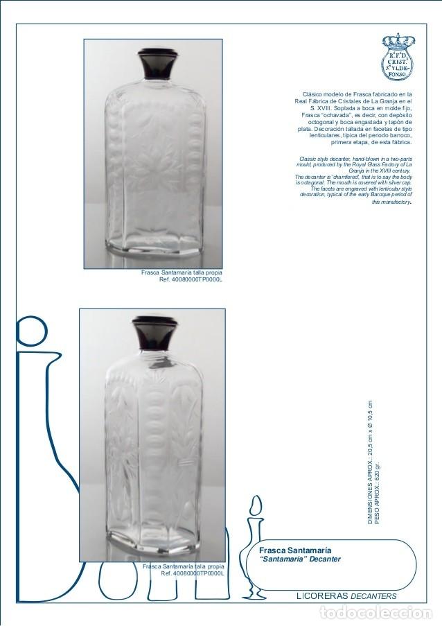Antigüedades: Estuche con 6 vasos y una frasca de la Real Fábrica de Cristales de La Granja - Foto 6 - 175814169