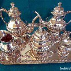 Antigüedades: JUEGO DE MERIENDA (TÉ Y CAFÉ) EN PLATA DE LEY. Lote 175820555